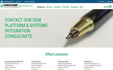 Screenshot of Contact Page unicomengineering.com - UNICOM Engineering :: Contact Us - captured July 22, 2016