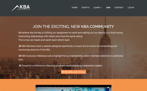 Screenshot of Signup Page kbabiz.com - Join – KBA - captured Nov. 2, 2016