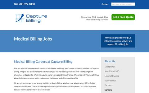 Screenshot of Jobs Page capturebilling.com - Medical Billing Jobs and Careers - captured Oct. 1, 2014