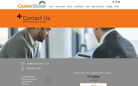 Screenshot of Contact Page careerstone.co.uk - CareerStone | Sales Recruitment Specialists | Contact Us - captured July 16, 2018