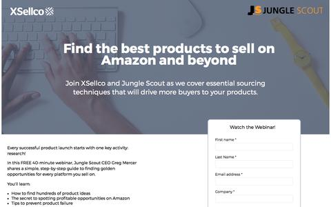 Screenshot of Landing Page xsellco.com - Find the Best Products to Sell on Amazon and Beyond - captured Sept. 11, 2017