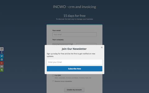 Screenshot of Signup Page Trial Page incwo.com - INCWO - CRM, facturation en ligne - Free trial - captured Feb. 21, 2018