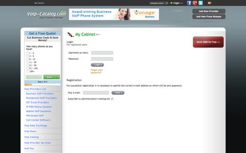 Screenshot of Login Page voip-catalog.com - My Cabinet : voip providers, voip services review - captured Sept. 24, 2018
