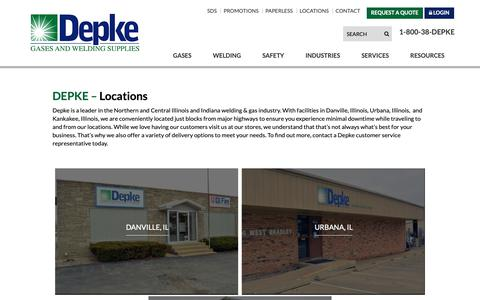 Screenshot of Locations Page depke.com - Depke Gases & Welding Supplies - Store Locations - captured Oct. 18, 2018