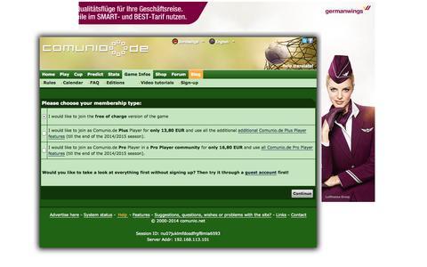 Screenshot of Signup Page comunio.de - COMUNIO football manager, soccer manager, fantasy football, Bundesliga manager - captured Sept. 18, 2014