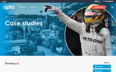 Screenshot of Case Studies Page optasports.com - Sports DataCase Studies - Opta Sports - captured Sept. 22, 2018