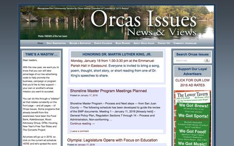 Screenshot of Home Page orcasissues.com - Orcas Issues: News & Views - - captured Jan. 17, 2016