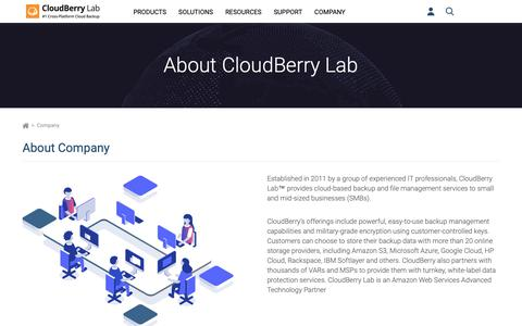 Screenshot of About Page cloudberrylab.com - The History, Mission and Values | CloudBerry Lab - captured Nov. 19, 2018