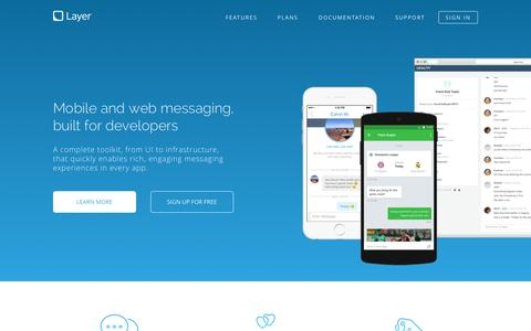Screenshot of Home Page layer.com - Layer - Mobile and web messaging, built for developers - captured Nov. 3, 2015