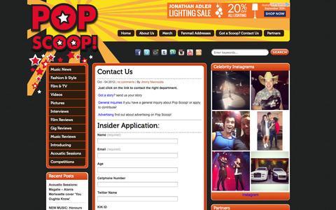 Screenshot of Contact Page popscoop.org - Contact Us - Pop Scoop! - Pop News   Interviews   Celebrity Gossip   Photos   Videos Pop Scoop! – Pop News   Interviews   Celebrity Gossip   Photos   Videos - captured Sept. 30, 2014