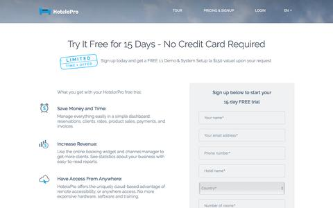 Screenshot of Trial Page hotelopro.com - Try HoteloPro Free for 15 Days - No Credit Card Required - captured May 23, 2017