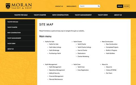 Screenshot of Site Map Page moranyachts.com - Site map | Moran Yacht & Ship - captured Oct. 26, 2014