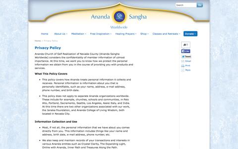 Screenshot of Privacy Page ananda.org - Privacy Policy - Ananda Sangha Worldwide - captured Sept. 19, 2014