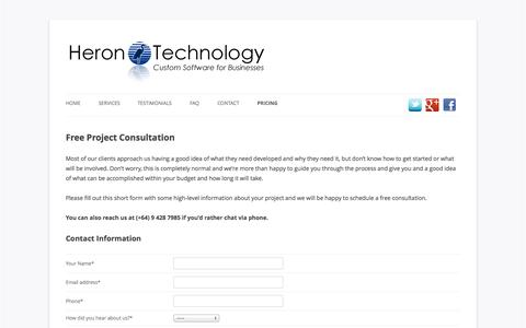 Screenshot of Pricing Page herontechnology.co.nz - Free Project Consultation - captured Oct. 28, 2014