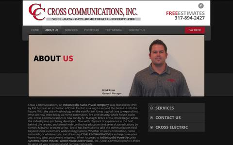 Screenshot of About Page crosscommunicationsindy.com - ABOUT US | Home Security Indianapolis | Home Theater - captured Oct. 3, 2014