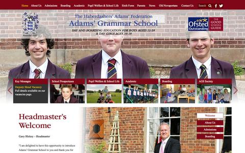 Screenshot of Home Page adamsgs.org.uk - Home | Adams' Grammar School | Years 7-10 | Sixth Form | Education | Boarding | Newport, Shropshire - captured Feb. 5, 2016