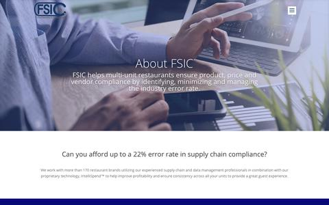Screenshot of About Page fsici.com - About - FSIC - captured Oct. 10, 2018