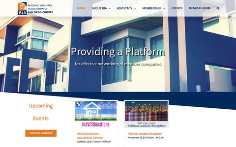 Screenshot of Home Page biasandiego.org - Building Industry Association of San Diego – BIA of San Diego represents the many companies that plan, design and build the many places where San Diegans live, work and play. - captured Oct. 11, 2017