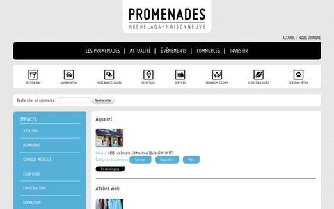 Screenshot of Services Page promenadeshm.ca - Services | Promenades Hochelaga-Maisonneuve - captured Oct. 27, 2014