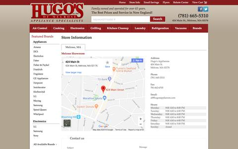 Screenshot of Contact Page Locations Page hugosmelroseappliance.com - Contact Hugo's Appliances in Massachusetts - captured July 9, 2018