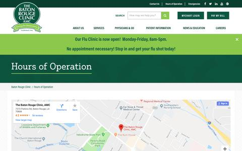 Screenshot of Hours Page batonrougeclinic.com - Hours of Operation | Baton Rouge Clinic | Locations - captured Oct. 18, 2018
