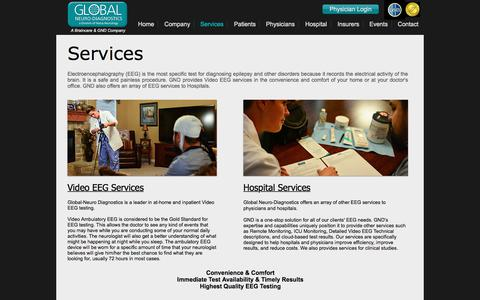 Screenshot of Services Page globalneuro.net - Global Neuro-Diagnostic Services - captured Aug. 10, 2017