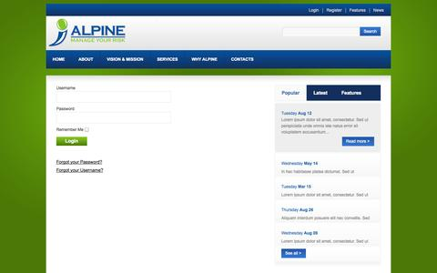 Screenshot of Login Page alpinerms.com - Login - captured Oct. 4, 2014