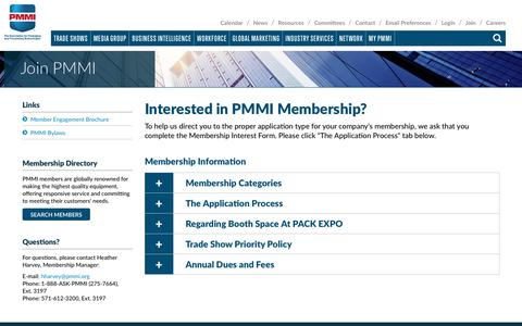 Screenshot of Signup Page pmmi.org - Join PMMI | PMMI - captured Sept. 18, 2019
