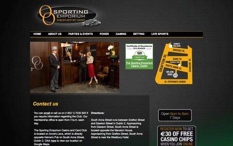 Screenshot of Contact Page thesportingemporium.com - Contact the Sporting Emporium - A Private Members Casino, Gaming and Card Club - captured Oct. 9, 2014