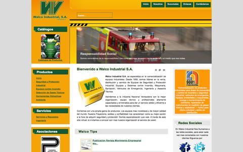 Screenshot of Home Page walcoindustrial.com - Walco Industrial S.A. - Seguridad y Proteccion Industrial, Incendio, Sanitación, Vehiculos de Emergencia, Extintores - captured Sept. 30, 2014