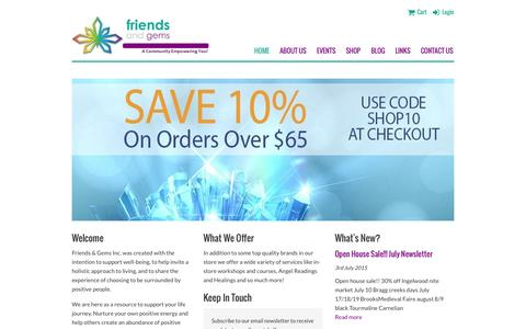 Screenshot of Home Page friendsandgems.com - Friends & Gems - A Community Empowering You! - captured Aug. 3, 2015