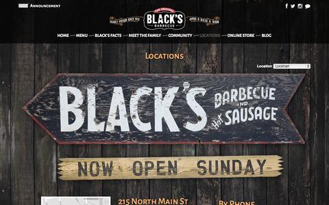 Screenshot of Locations Page blacksbbq.com - Black's Barbecue :: Restaurant > Locations - captured Sept. 23, 2014