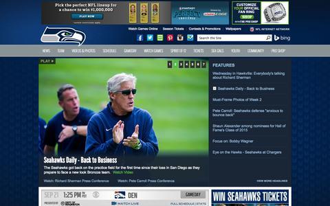 Screenshot of Home Page seahawks.com - Seahawks.com   Seattle Seahawks - captured Sept. 18, 2014
