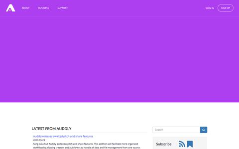 Screenshot of Press Page auddly.com - Auddly news - captured Oct. 9, 2017