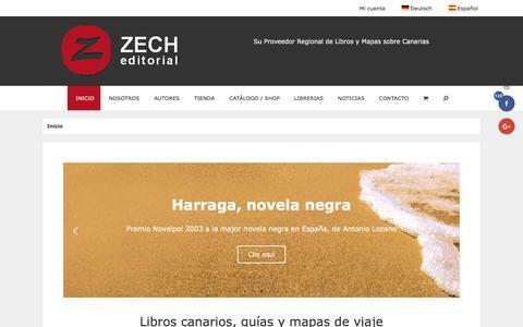 Screenshot of Home Page editorial-zech.es - ▷ Libros Canarios, Guías y Mapas de Viaje - Editorial Zech - captured May 17, 2018