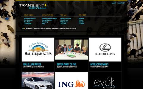 Screenshot of Case Studies Page transientidentiti.com - The Work as performed by  Transient Identiti - captured Oct. 1, 2014