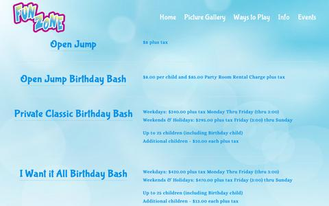 Screenshot of Pricing Page funzonejumpers.com - Pricing — Fun Zone Jumpers - Entertainment in Jackson TN - captured Oct. 22, 2018