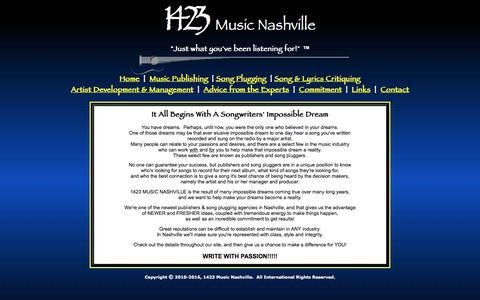 Screenshot of Home Page 1423music.com - 1423 Music Nashville - Music Publishing, Song Plugging & Artist Management - Home - captured June 10, 2017