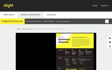 Screenshot of Case Studies Page alight.com - Deploying in the Cloud: Case study - Synchrony Financial - captured Aug. 31, 2017