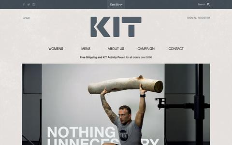 Screenshot of Home Page kitactive.com - KIT by Commando Steve Willis - Activewear, Crossfit Clothing, Fashionable Apparel - captured March 6, 2016