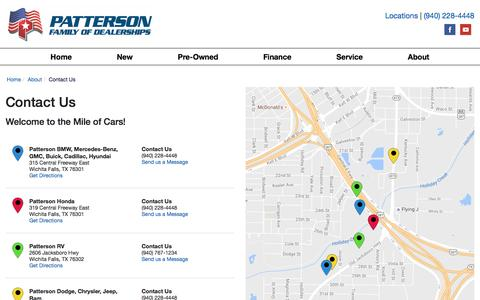 Screenshot of Contact Page Locations Page pattersonauto.com - Contact Patterson Auto Group in  Texas - captured Oct. 7, 2016