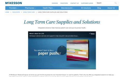 Long Term Care Supplies and Solutions | McKesson