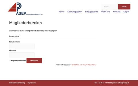 Screenshot of Login Page asep.at - Mitgliederbereich – ASEP - captured Oct. 29, 2018