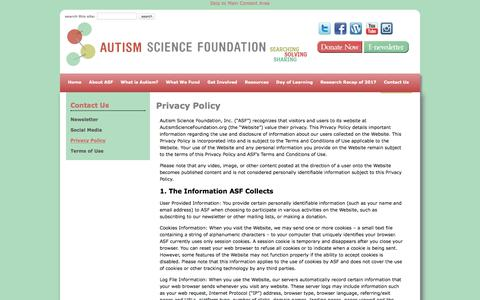 Screenshot of Privacy Page autismsciencefoundation.org - Privacy Policy - Autism Science Foundation - captured July 31, 2018