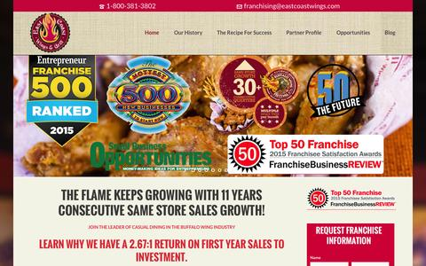 Screenshot of Home Page eastcoastwingsfranchise.com - East Coast Wings and Grill Franchising - captured Sept. 4, 2015