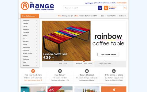 Screenshot of Home Page therange.co.uk - The Range | Furniture, Curtains, Bedding, DIY, Garden & More - captured Sept. 19, 2014
