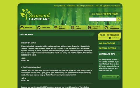 Screenshot of Testimonials Page seasonallawncare.com - Testimonials | Lawn Care Service in Buffalo, NY | Seasonal LawncareSeasonal Lawncare - captured Sept. 30, 2014