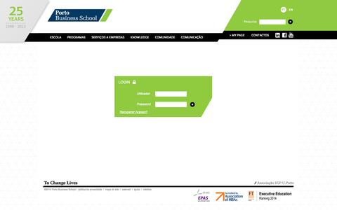 Screenshot of Login Page up.pt - Porto Business School - captured Sept. 22, 2014