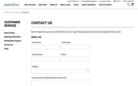 Screenshot of Contact Page innisfree.com - Sites-InnisfreeUS-Site - captured Oct. 15, 2017