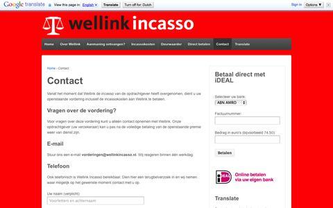 Screenshot of Contact Page wellinkincasso.nl - Contact | Wellink Incasso - captured Oct. 10, 2014